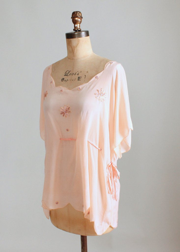 Vintage 1920s Embroidered Silk Drawstring Blouse