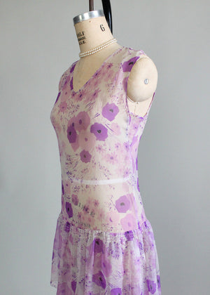 Vintage 1920s Purple Pansies Chiffon Lawn Dress