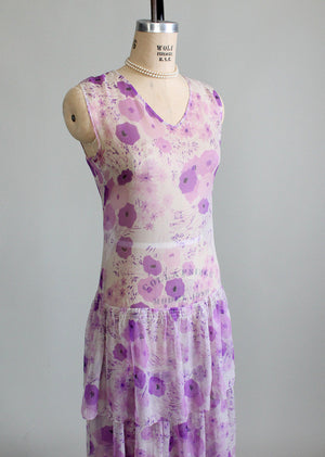 1920s Purple Floral Party Dress