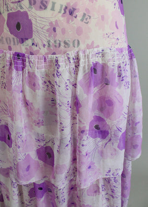 1920s Purple Floral Chiffon Dress
