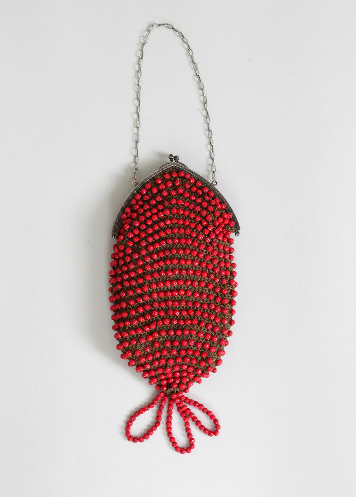 Vintage 1920s Red Beaded Flapper Purse