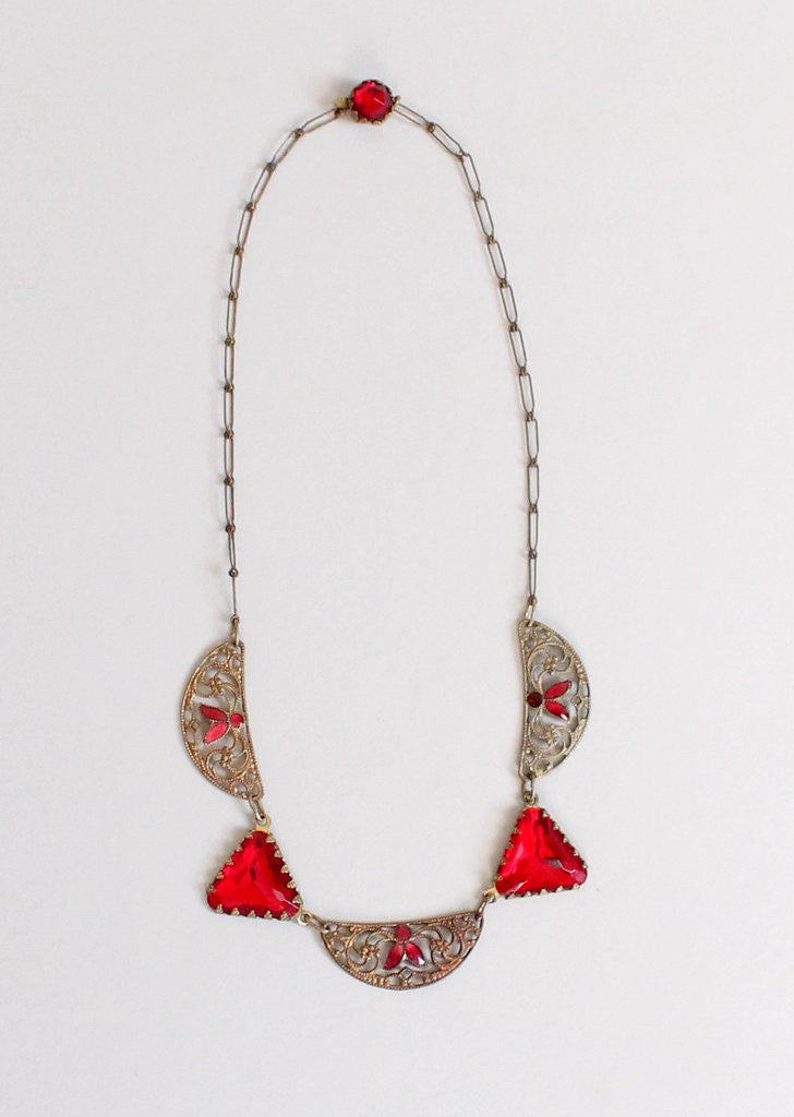 Vintage 1920s Red Enamel and Glass Necklace
