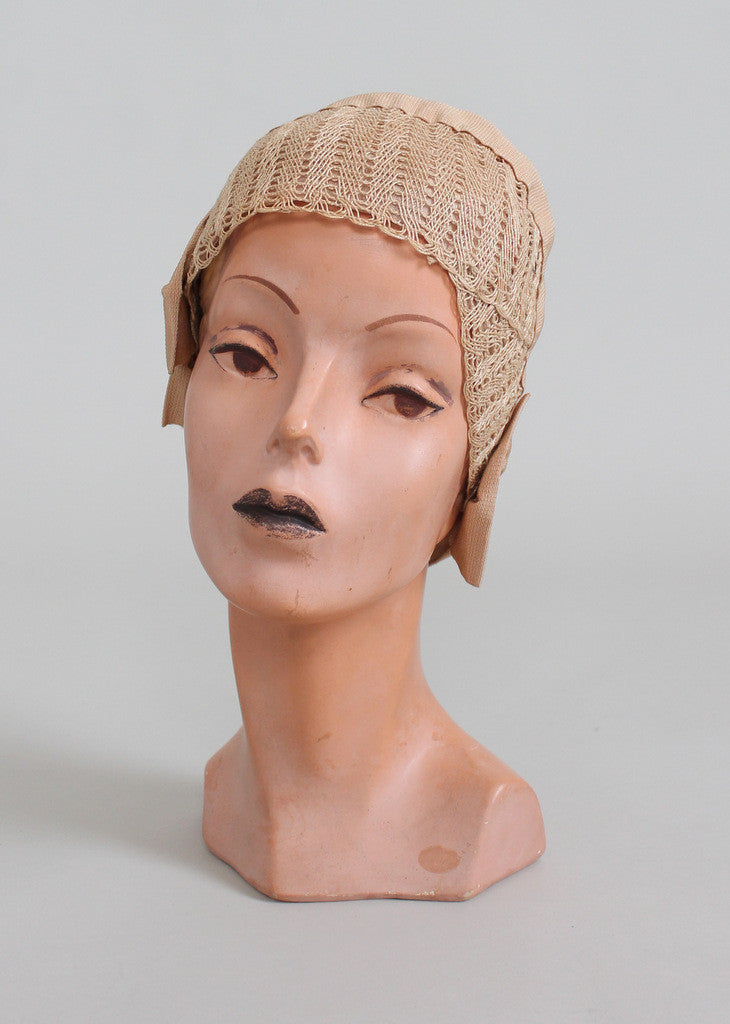 Vintage 1920s Summer Sand Fabric Cloche Hat
