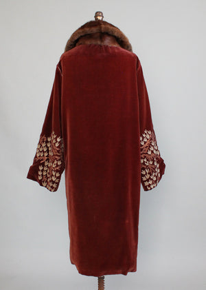 Vintage 1920s Velvet and Fur Cocoon Coat