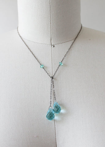 Vintage 1920s Aqua Glass Lariat Necklace