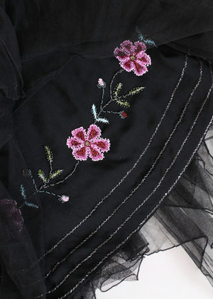 Vintage 1920s Floral Beaded Black Silk Flapper Dress