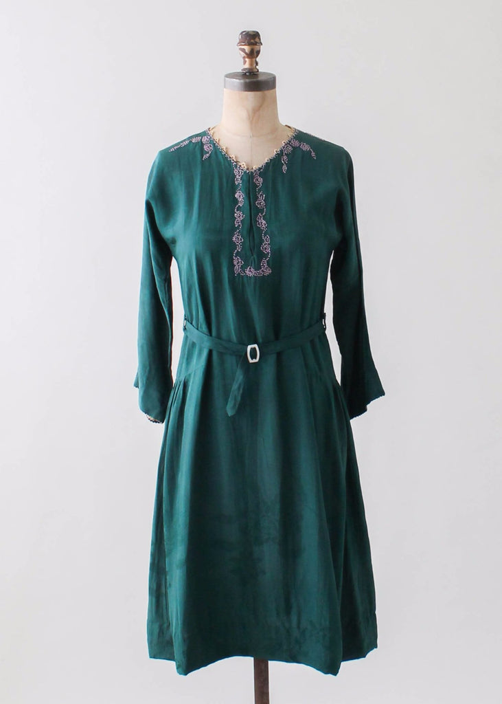 Vintage 1920s Beaded Green Silk Dress