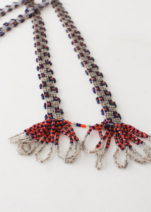 Vintage 1920s Beaded Tassel Lariat Necklace