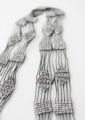 Vintage 1920s Beaded Fringed Lariat Necklace