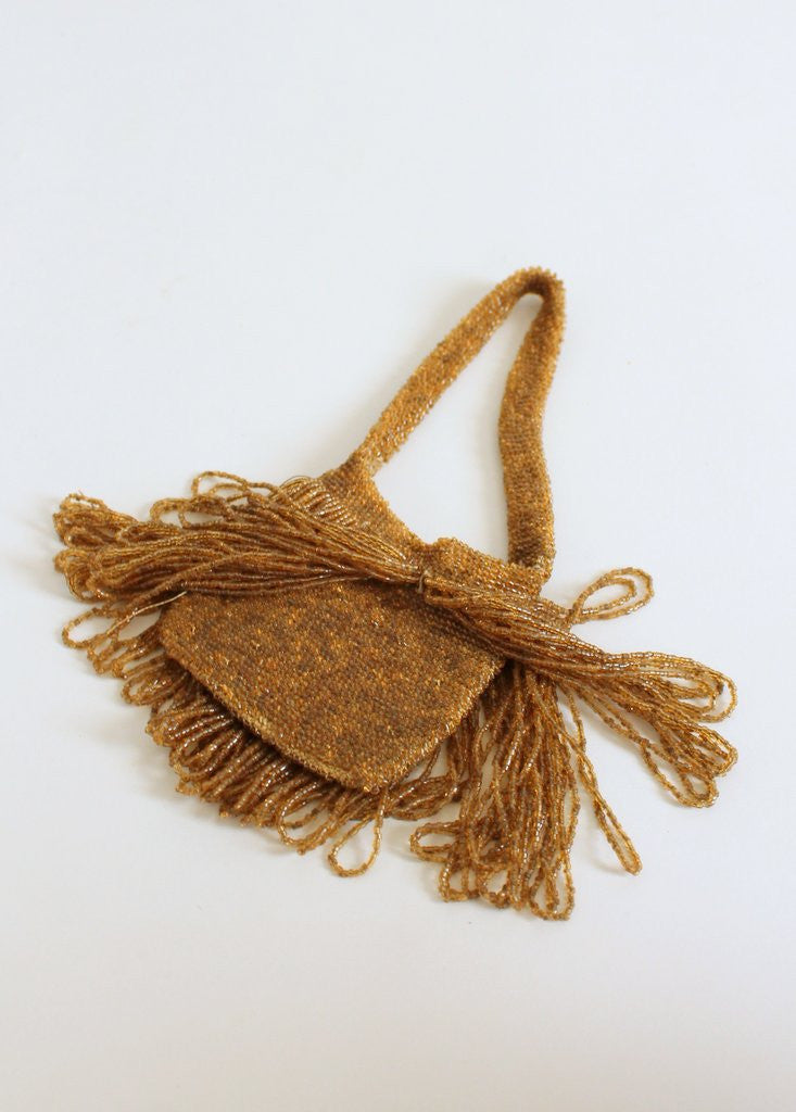 Vintage 1920s Beaded Necklace and Fringed Purse Set