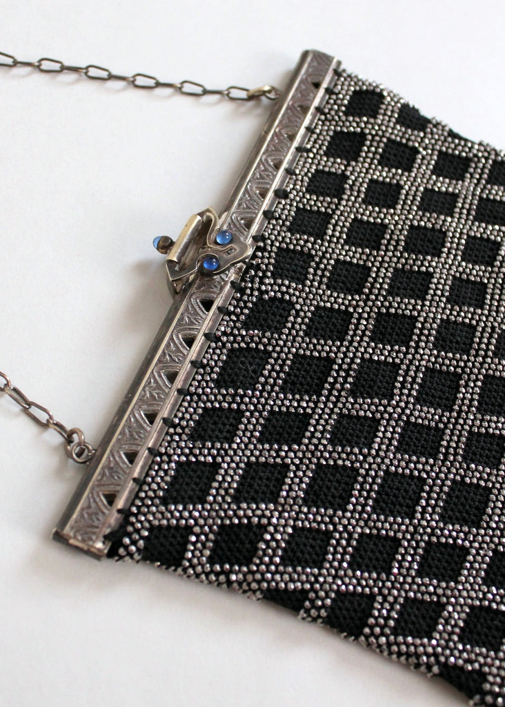 Vintage 1920s Black and Silver Beaded Check Flapper Purse