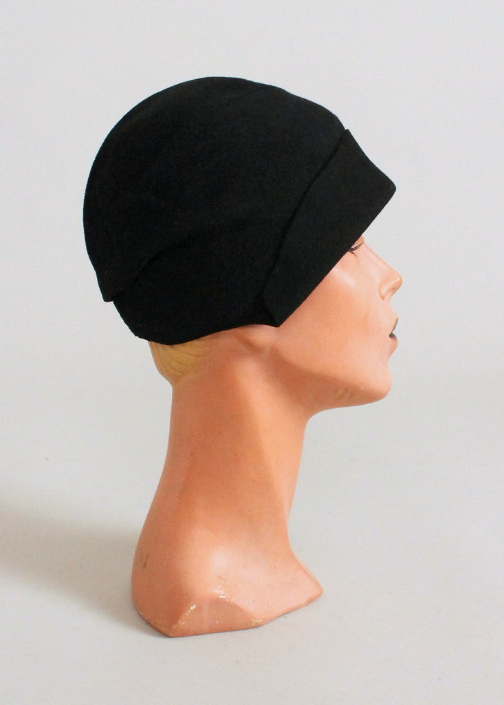 Vintage 1920s Black Felt Cloche with Celluloid Horn