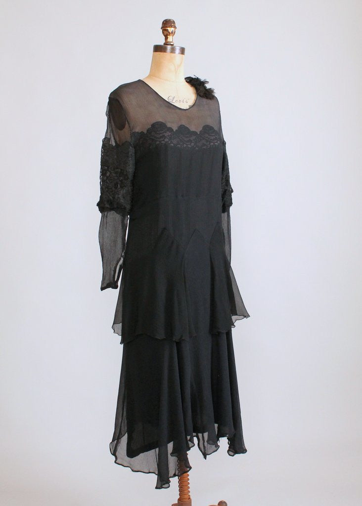 Vintage 1920s Black Crepe Shadow Lace Dress