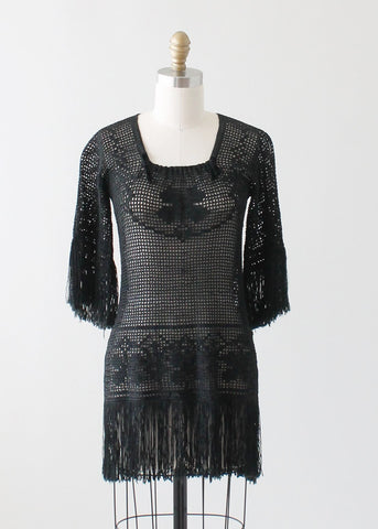 Vintage 1920s Fringed Knit Tunic Sweater