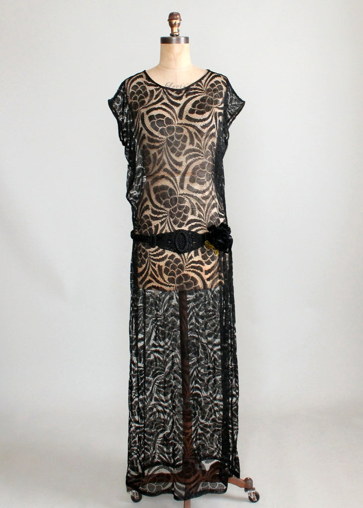 Vintage 1920s Black Lace Evening Dress with Braided Belt | Raleigh ...