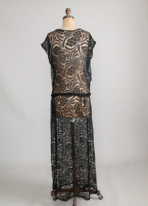 Vintage 1920s Black Lace Evening Dress with Braided Belt