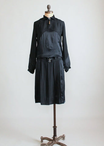 Vintage 1920s Black Silk Art Deco Winter Dress