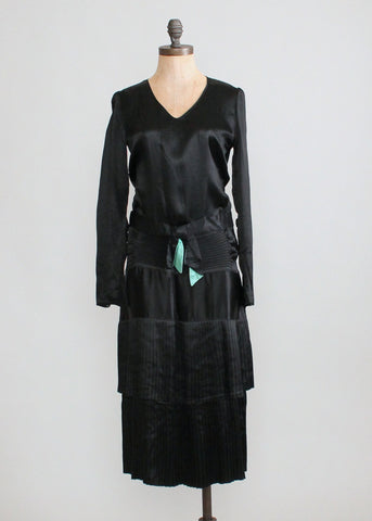 Vintage 1920s Black Silk Dress with a Hint of Green