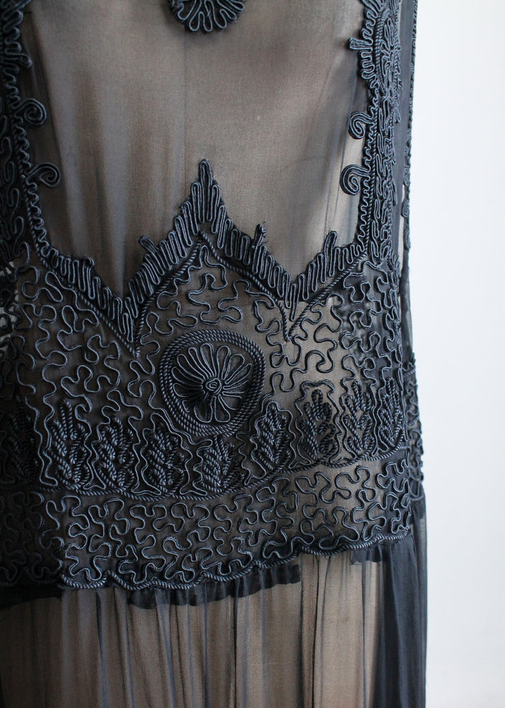 Vintage 1920s Black Silk Soutache Dress