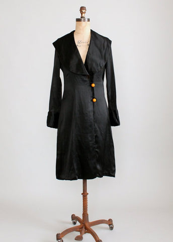 Vintage 1920s Black Silk Flapper Coat