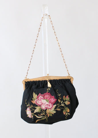 Vintage 1920s Embroidered Rose Silk Purse