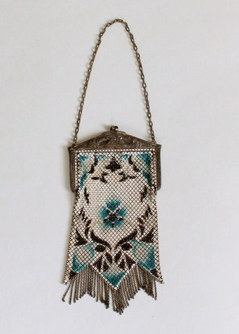 Vintage 1920s Blue and White Mesh Flapper Purse