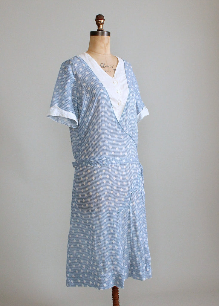 Vintage 1920s Blue and White Polka Dot Cotton Day Dress