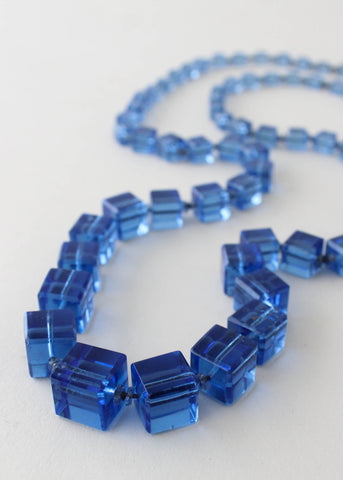 Vintage 1920s Blue Glass Cubes Flapper Necklace