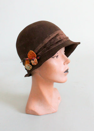 Vintage 1920s Fall Flowers Cloche Hat