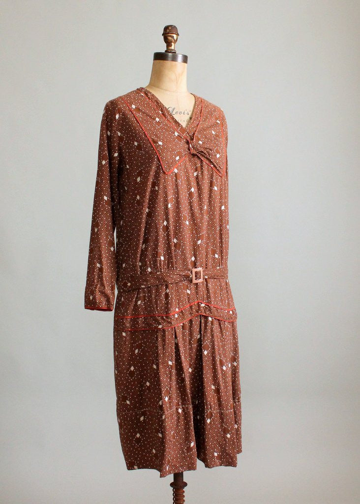 Vintage 1920s Brown Print Cotton Day Dress