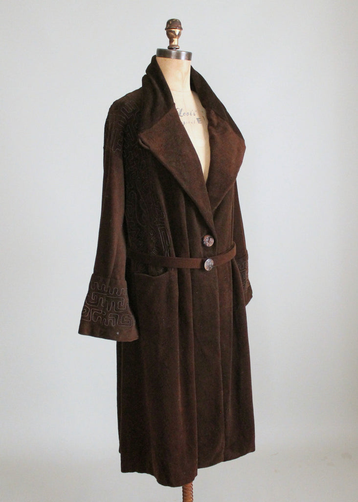 Vintage Early 1920s Brown Wool Velour Coat with Soutache Trim