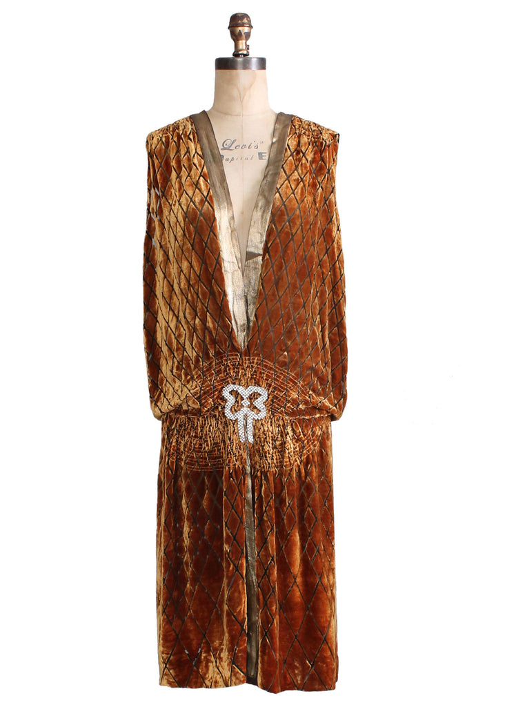 Vintage 1920s Bronze Burnout Velvet Flapper Dress