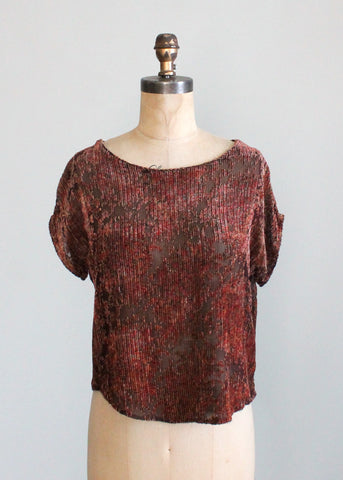 Vintage 1920s Burnout Velvet Slouch Top