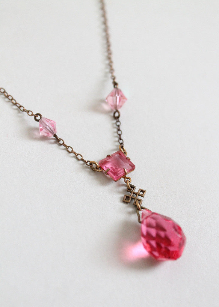 Vintage 1920s Pink Prism Necklace with Celtic Knot