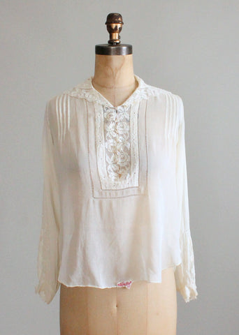 Vintage 1920s Cotton Batiste and Filet Lace Blouse