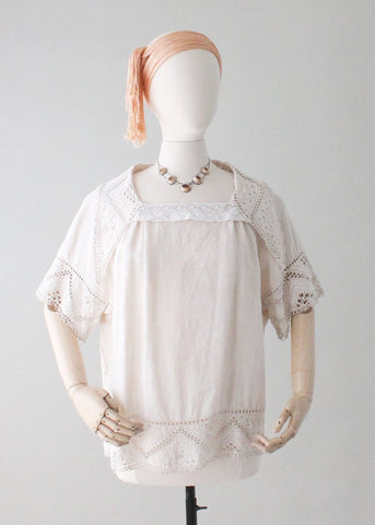 Vintage 1920s Linen and Lace Tunic Top