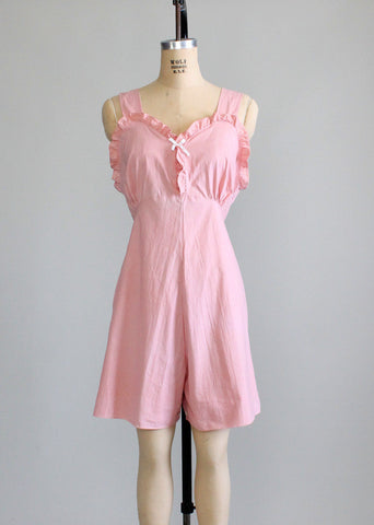 Vintage 1930s Pink Cotton Lounging Romper