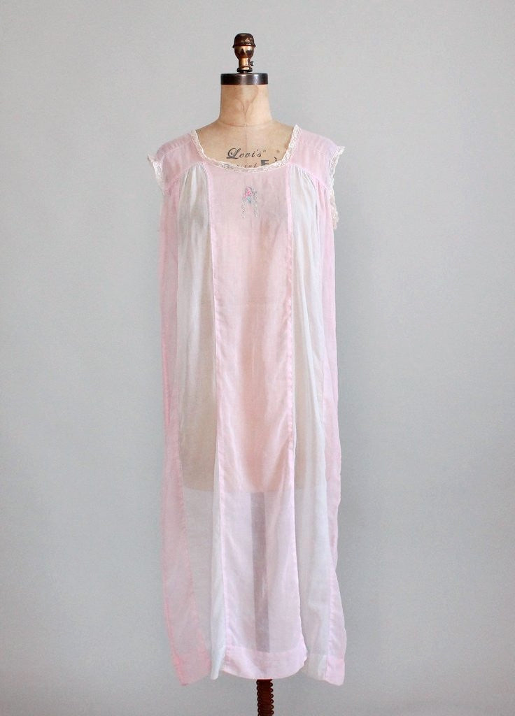 Vintage 1920s Embroidered Cotton Night Gown