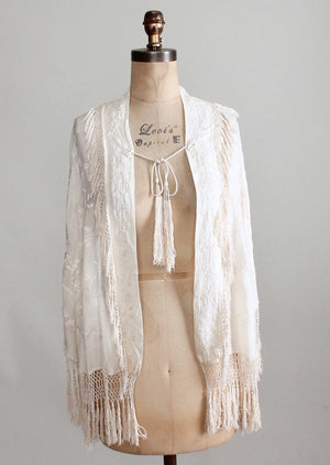 Vintage 1920s Embroidered Fringe Shawl Cape
