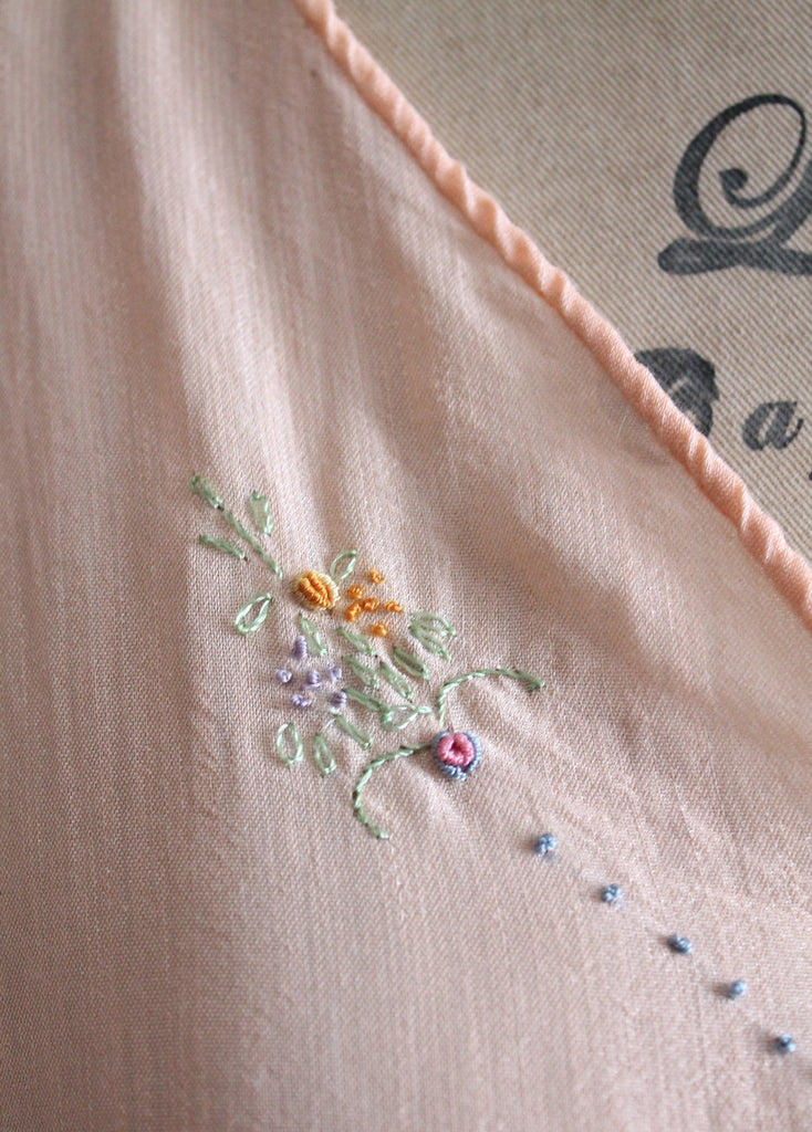 Vintage 1920s Embroidered Silk Nightgown