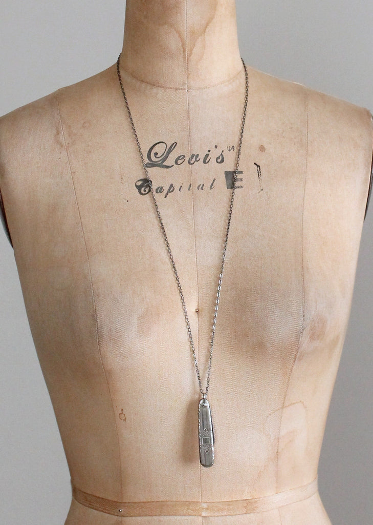 Vintage 1930s Engraved Ladies Pocket Knife Necklace