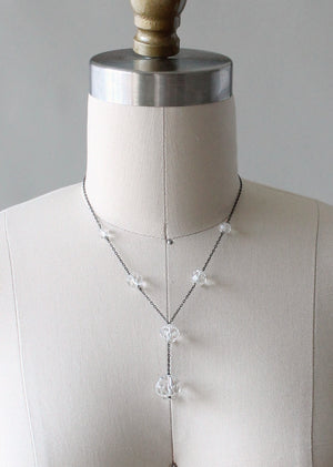 Vintage 1920s Faceted Crystal Lariat Necklace