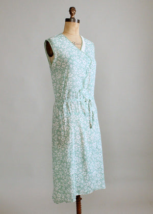 Vintage 1920s Green Floral Summer Cotton Dress
