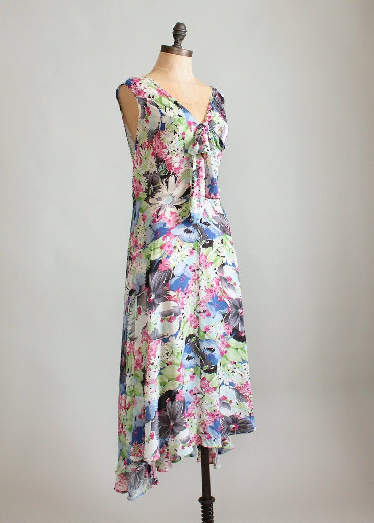 Vintage 1920s Ashikaga Floral Silk Dress