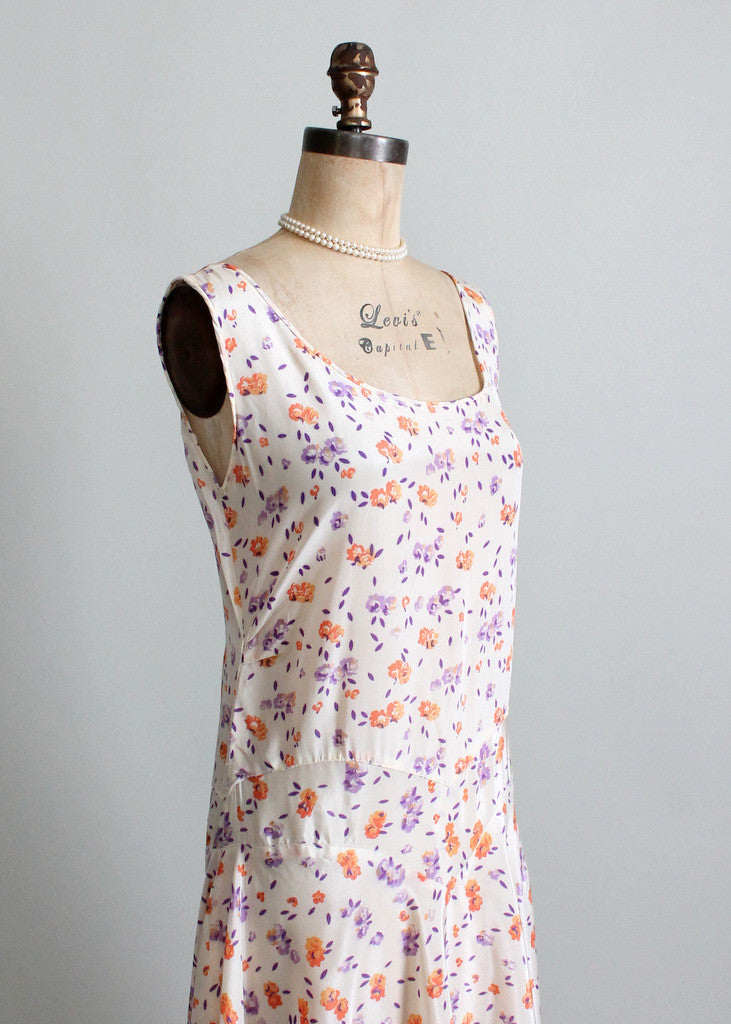 Vintage 1920s Floral Summer Party Dress