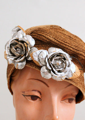 Vintage 1920s Golden Slouch Cloche Hat with Silver Flowers