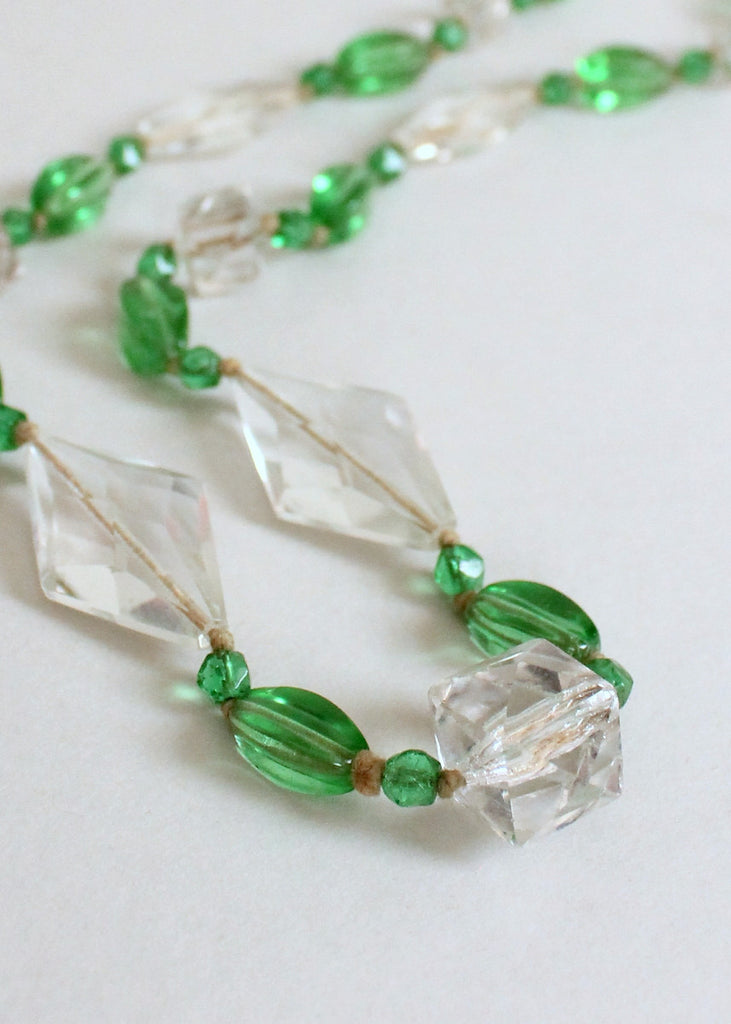 Vintage 1920s Green and Clear Glass Bead Necklace