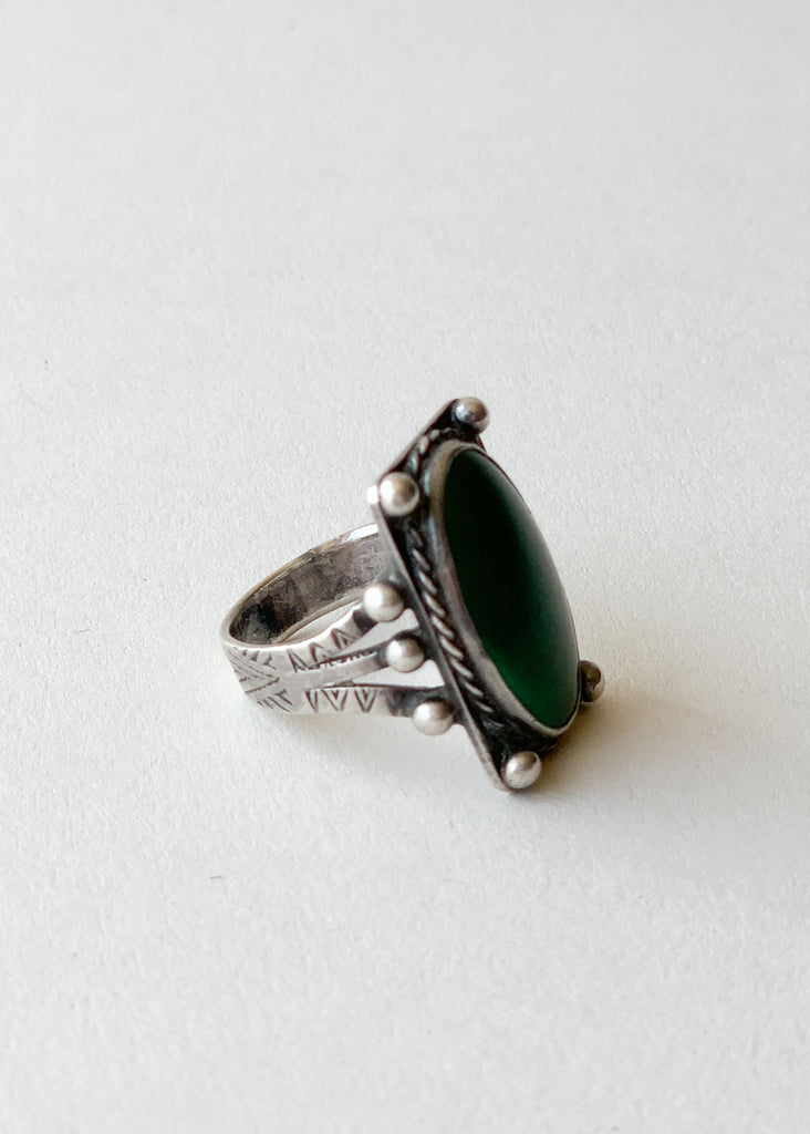 Vintage 1920s Green Turquoise and Silver Ring