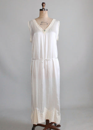 Vintage 1920s Ivory Silk and Lace Belted Flapper Nightgown