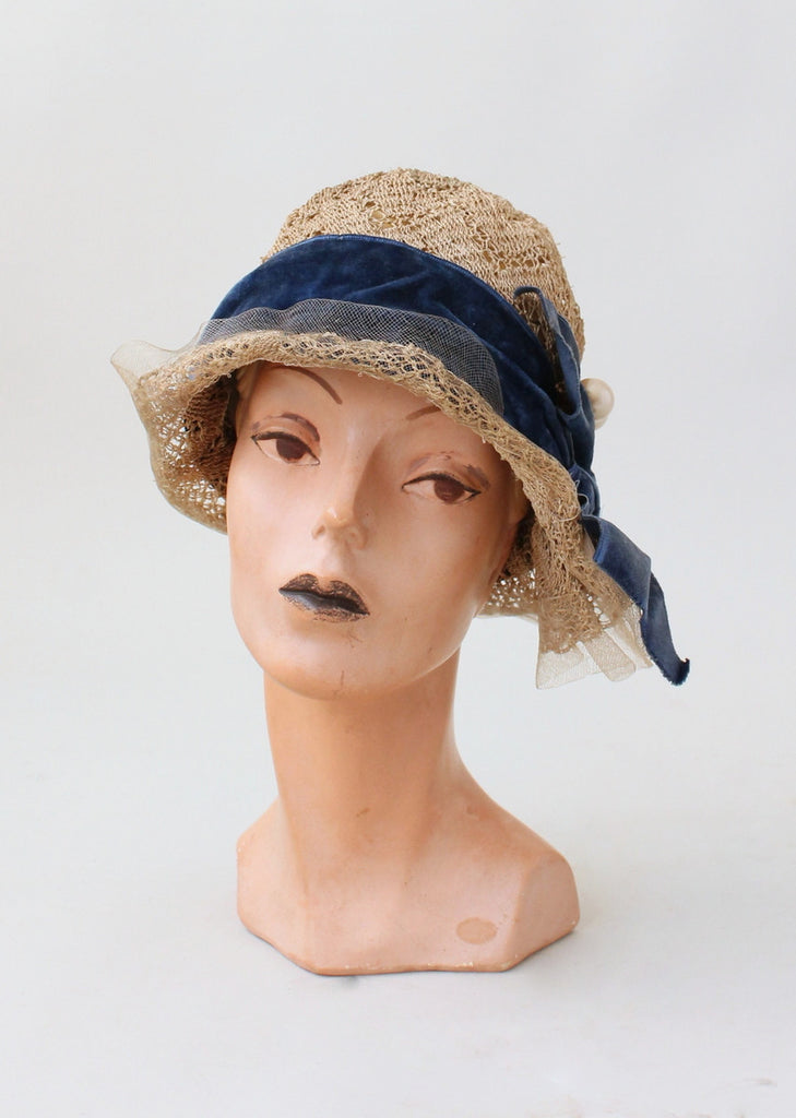 57f0d0ea7969cc Vintage 1920s Lacey Straw Cloche Hat   Raleigh Vintage